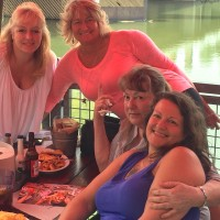 From left Candace, Christine, Sandra and Sandi, having lunch the day Sandi met them for the first time.