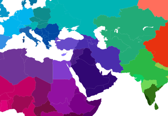 Map No Africa, Central and South Asian