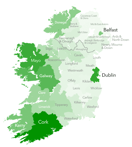 A map of Ireland showing where connections were concentrated