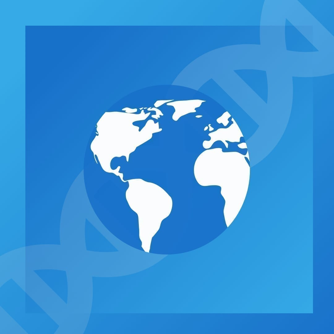 A image of the globe and the double helix to represent those who have opted into participate in research on COVID-19
