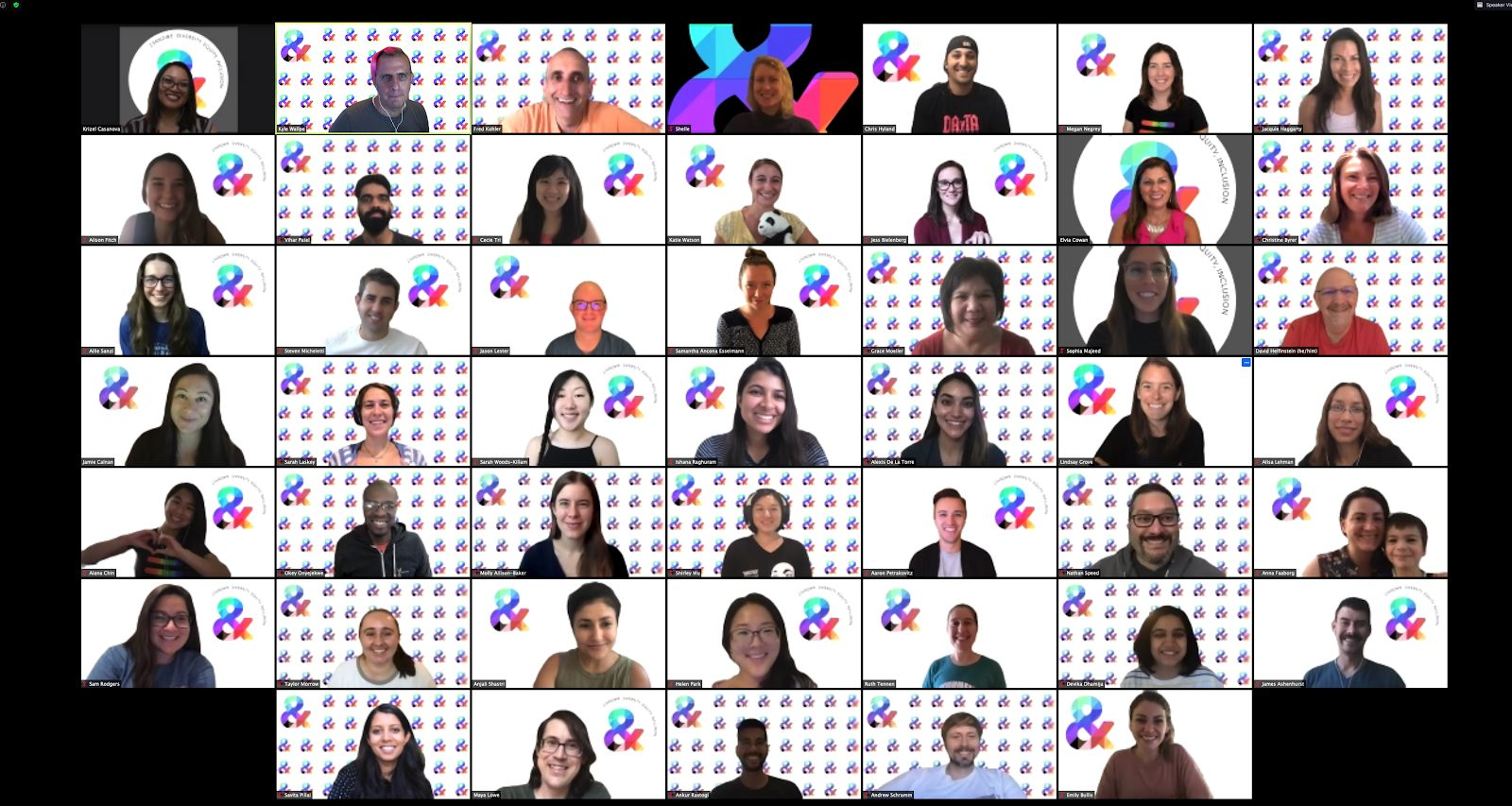 Images of dozens of 23andMe employees in a group zoom call about diversity and inclusion.