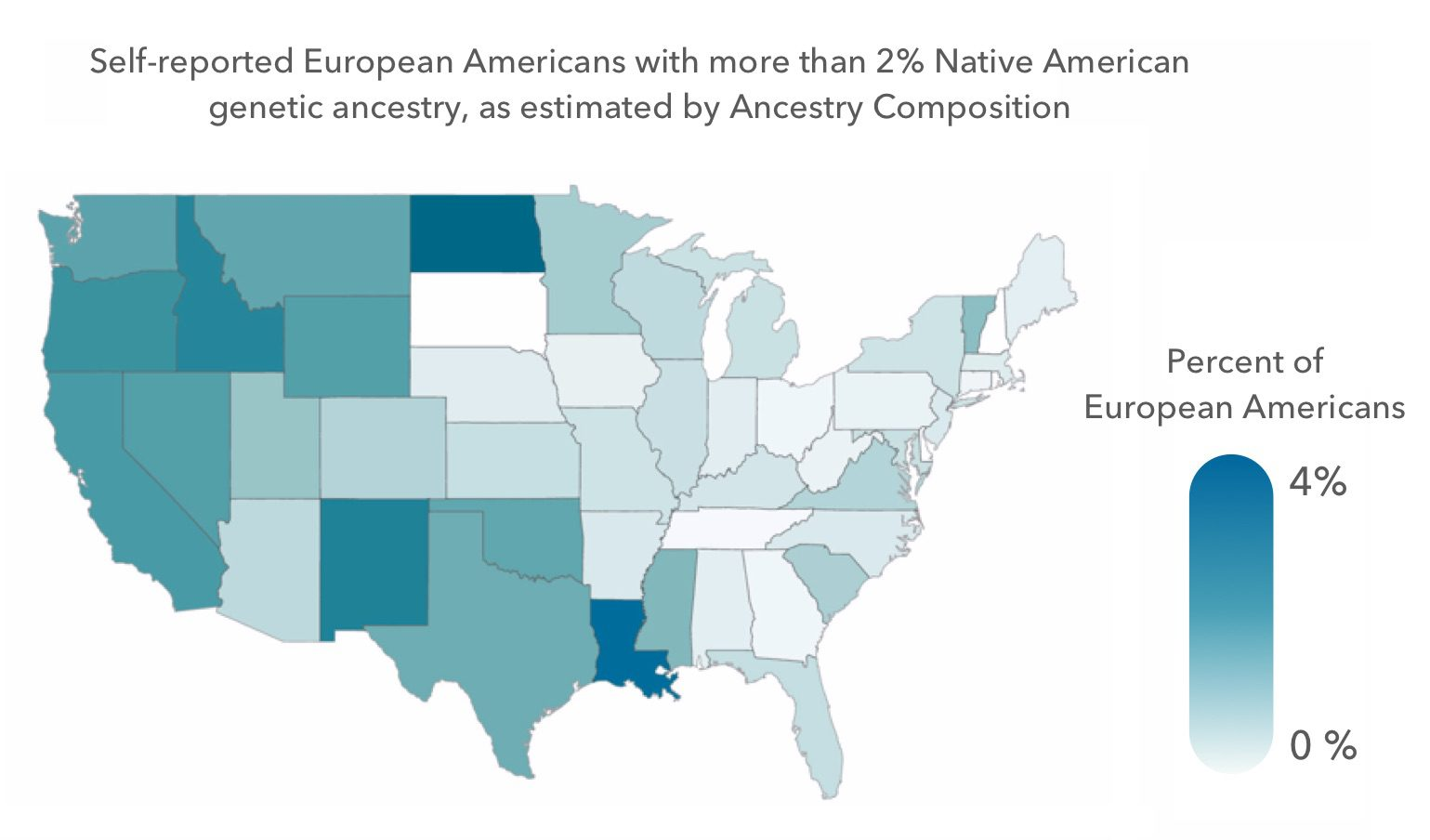Map of the US showing self identified European Americans with native american ancestry
