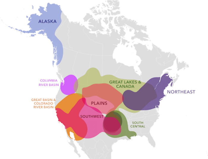 A map of the bio-geographic ancestral regions that include the Columbia River Basin, the Great Basin & Colorado River Basin, Great Lakes& Canada, the Northeast, South Central, the Plains and Southwest.